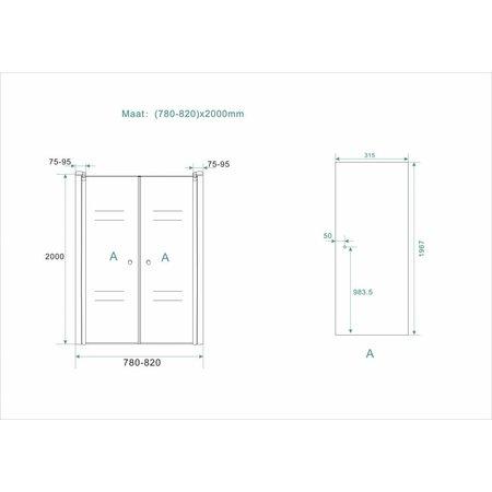 Douchedeur - pendeldeur SWING 2.0 80x200