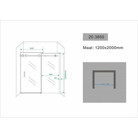 Schuifdeur - douchedeur SLIDE 110-120x200 8mm