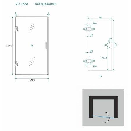 Douchedeur - nisdeur NEVI 100x200 8mm