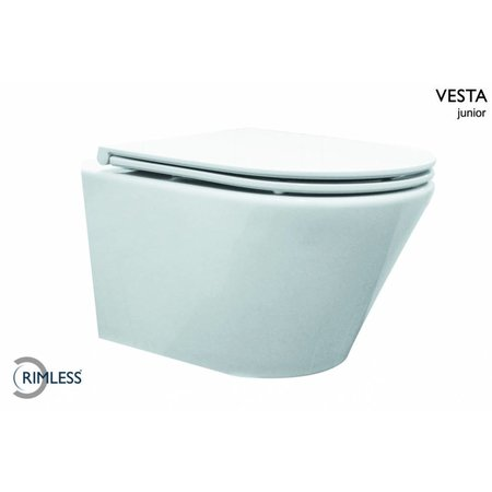 Vesta-Junior rimless wandcloset 47cm +Flatline zitting