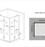 Douchecabine CARNA 120x120x195 cm hoekinstap