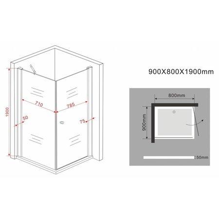 Douchecabine STALIS-FX 80x90x190 cm