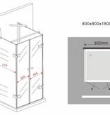 Douchecabine RAMA U-vorm met draaideuren 80x80x180 cm