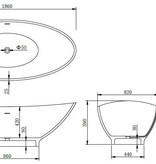 Vrijstaand ligbad Solid Surface 186 x 82 x 59 cm wit