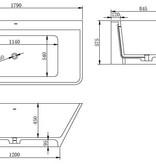 Solid Surface semi-vrijstaand bad type 3 179x84.5x57.5 cm