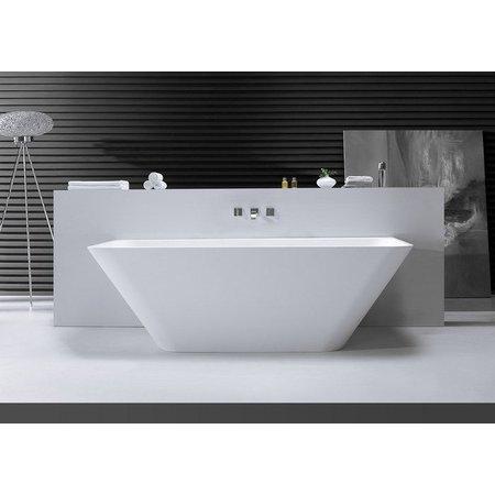 Inge semi vrijstaand ligbad Solid Surface 179 x 85 x 58 cm wit