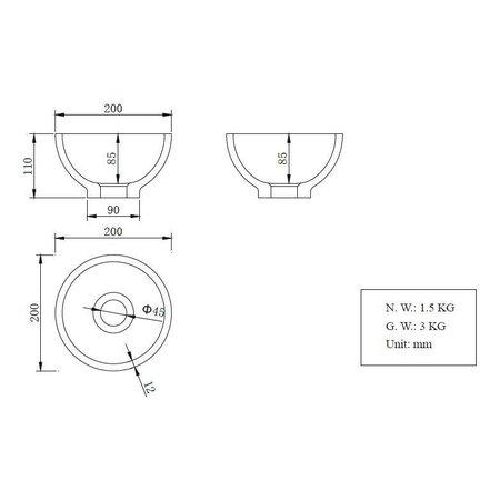 Tessa opzetfontein rond Solid Surface 20 x 20 cm wit
