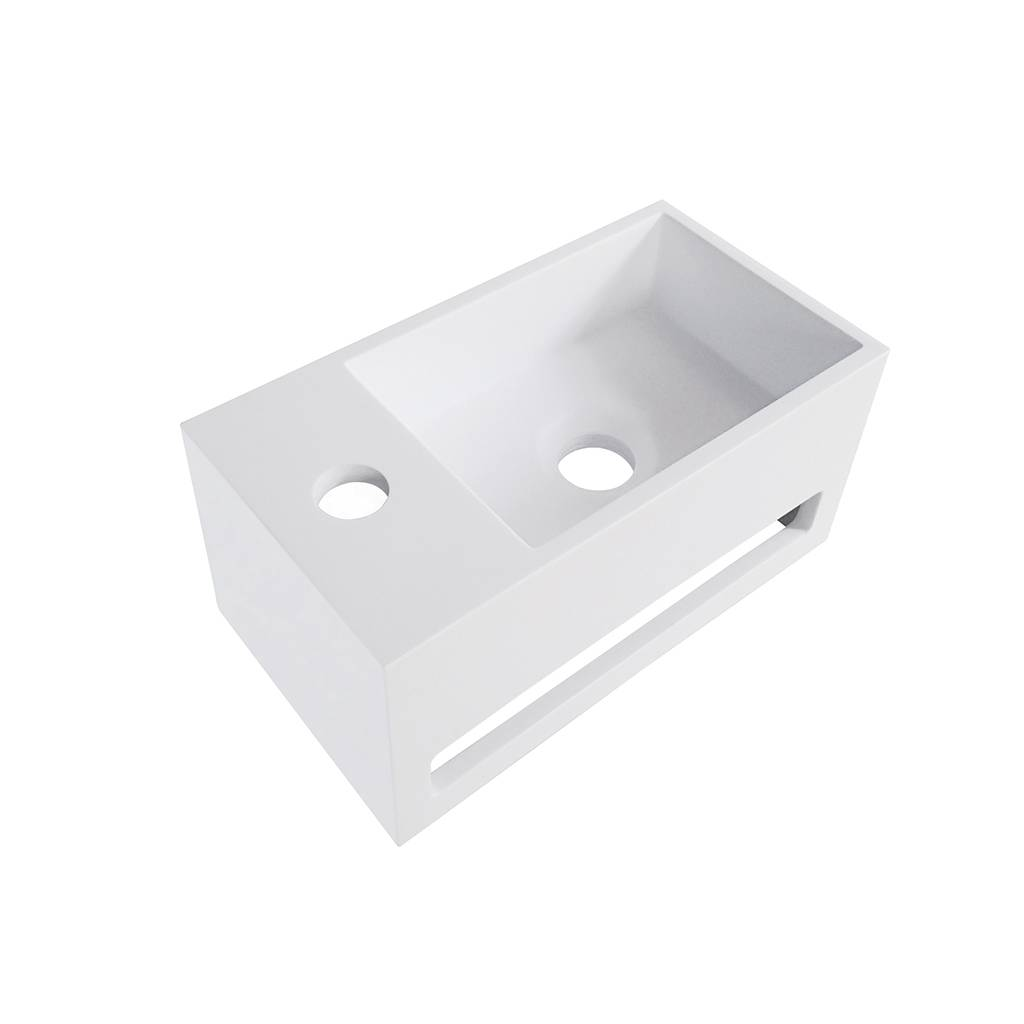 Julia fontein Solid Surface 35 x 20 x 16 cm wit links wastafel > fontein