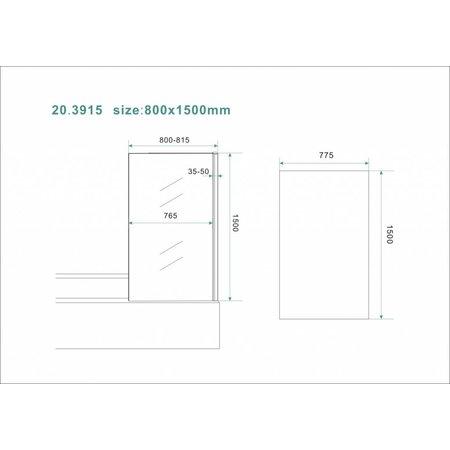 Vaste badwand 80 (80-81.5) x 150 cm Nano