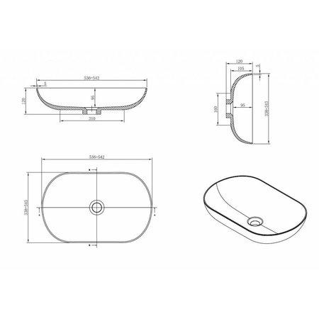 Rheiner Design Opzetwastafel Solid Surface 54 X 34 X 12 cm