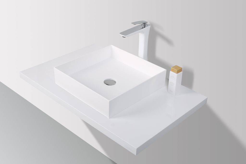 Rheiner Design Opzetwastafel Solid Surface 42 X 42 X 12 cm - vierkant