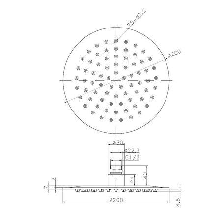 Wiesbaden RVS Regendouche 20 cm - Cirkel