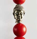Wristbehavior Red Coral Buddha braclet
