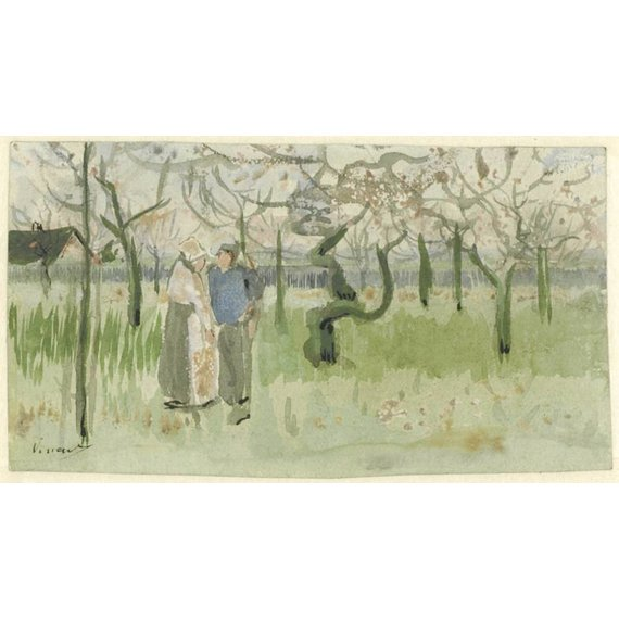 Orchard in Blossom with Two Figures: Spring