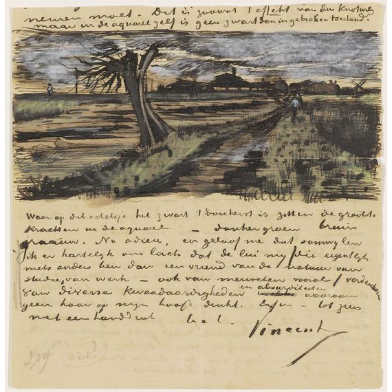 Letter to Theo van Gogh (with letter sketch Pollard Willow)