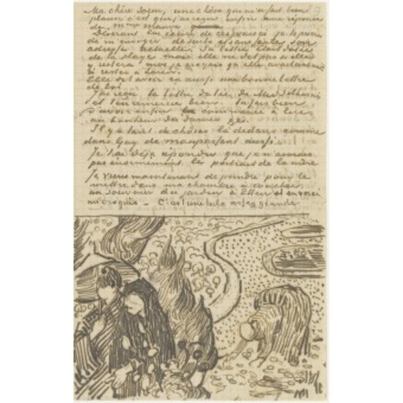 Letter to Willemien van Gogh (with letter sketches Reminiscence of the Garden at Etten and Woman Reading a Novel) - Card / A4 reproduction