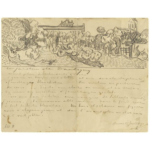 Letter to Theo van Gogh (with letter sketches Daubigny's Garden, Wheatfields, Thatched Cottages and Figures and Wheatfields) - Book / Magazine / Flyer