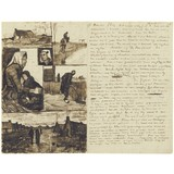 Letter to Theo van Gogh (with letter sketches Farm, Rider by a waterway, Woman and child, Head of a woman, Woman working and Country road with cottages) - Card / A4 reproduction