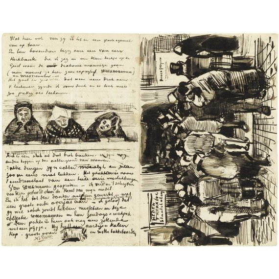 Letter to Theo van Gogh (with letter sketches Church Pew with Worshippers, Back of the Head of an Orphan Man and The Poor and Money) - Card / A4 reproduction