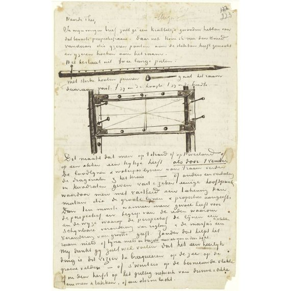 Letter to Theo van Gogh (with letter sketches Post for Perspective Frame, Peg for Perspective Frame and Perspective Frame) - Card / A4 reproduction