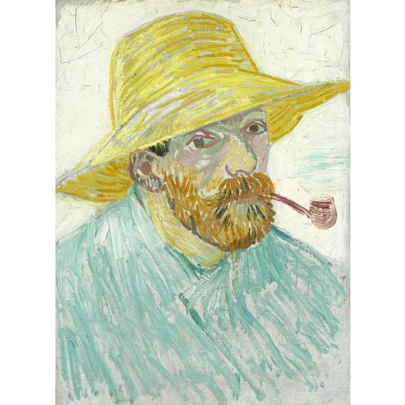 Self-Portrait with Pipe and Straw Hat - Card / A4 reproduction