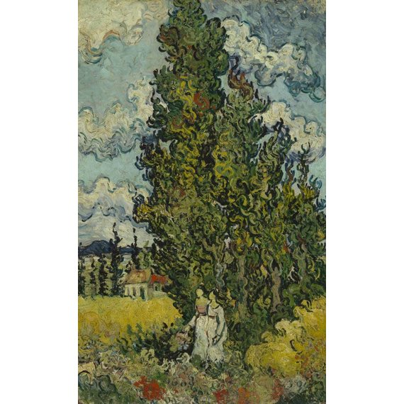 Cypresses and Two Women - Card / A4 reproduction