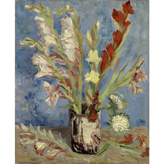 Vase with Gladioli and Chinese Asters - Card / A4 reproduction