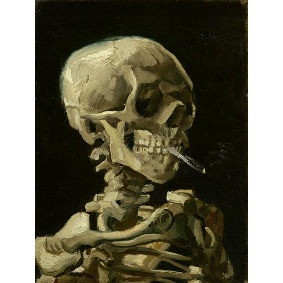 Head of a Skeleton with a Burning Cigarette - Card / A4 reproduction