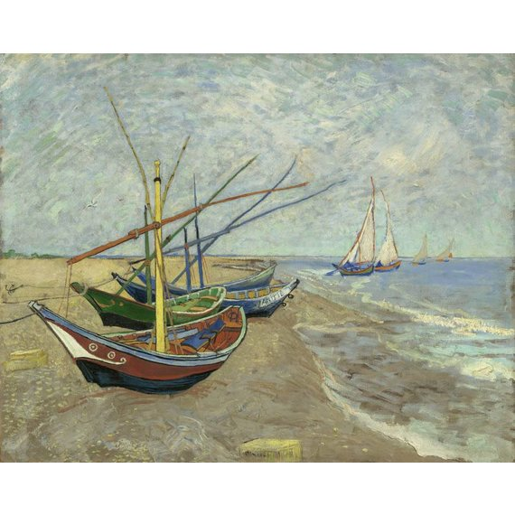 Fishing Boats on the Beach at Les Saintes-Maries-de-la-Mer - Card / A4 reproduction