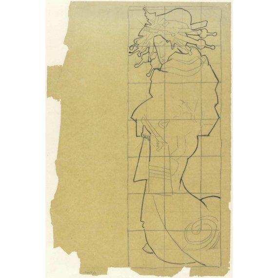 Tracing of the Cover of Paris Illustré. Le Japon - Card / A4 reproduction