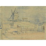Gardens on Montmartre and the Blute-Fin Windmill - Card / A4 reproduction