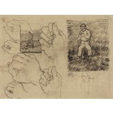 Studies of a Sower and of a Hand - Card / A4 reproduction