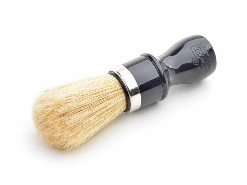Omega varkensharen scheerkwast - zwart (professional) - L - met houder