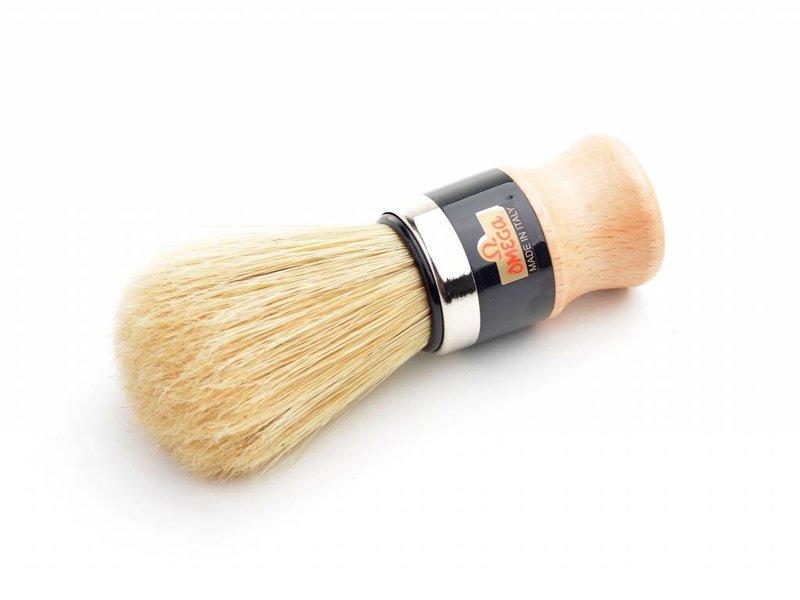 Omega varkensharen scheerkwast - hout - met houder