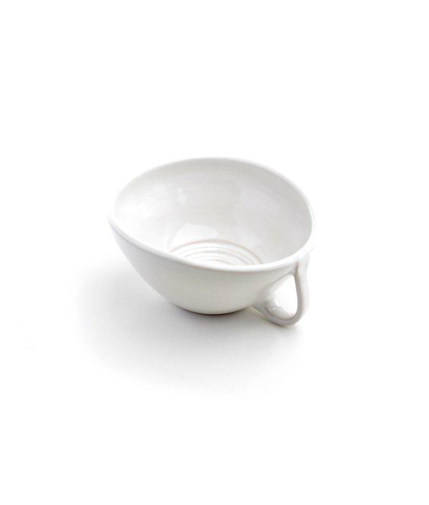 Schwarzweisskeramik Handgemaakte witte scheerkom met handvat