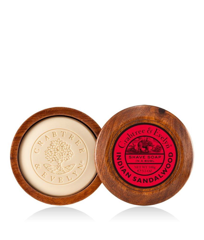 Crabtree & Evelyn Indian Sandalwood scheerzeep in mooie houten scheerkom