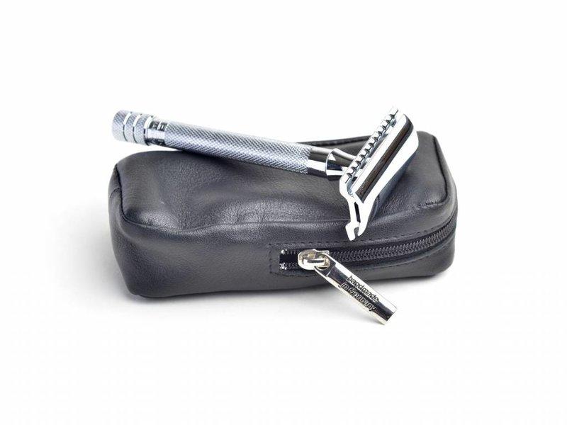 Lederen tasje voor safety razor