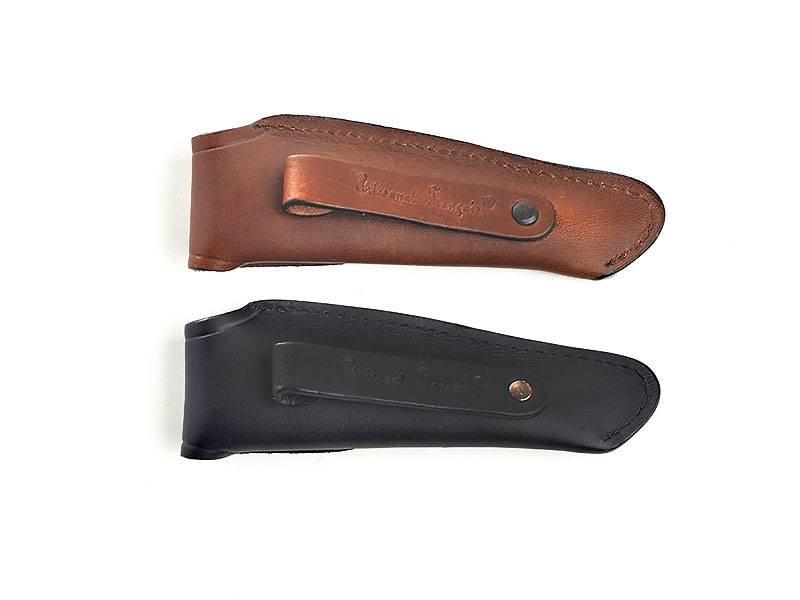 Laguiole en Aubrac zwart lederen tasje voor Laguiole messen van 12cm