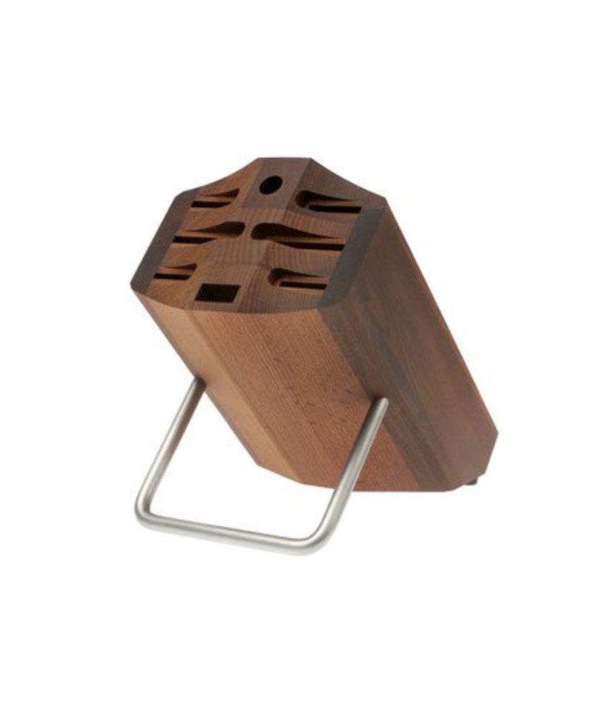 Wusthof Culinar bruin messenblok met beugel voor 9 messen