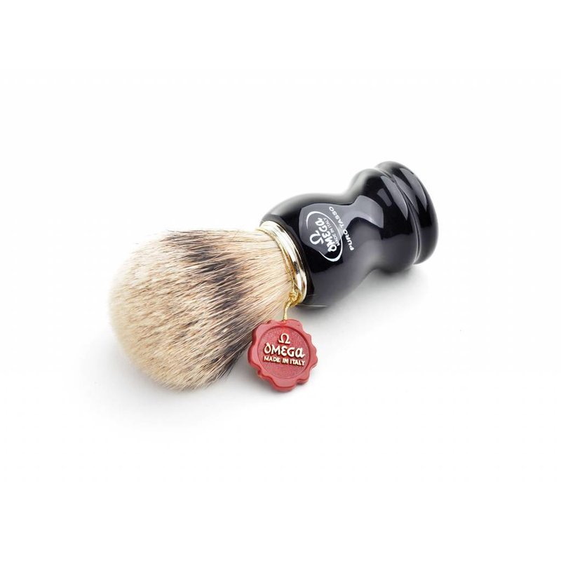 Omega super badger scheerkwast - zwart - L - met houder