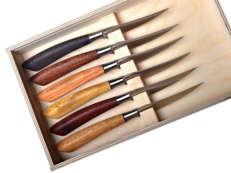 Saladini Steakmessen verschillende houtsoorten