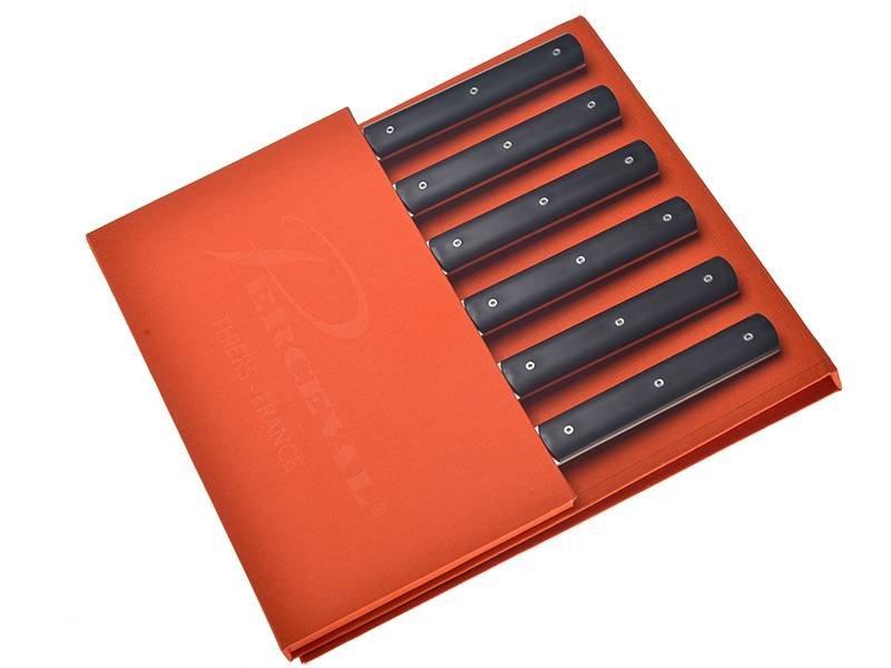 Perceval doos met 6 zwarte steakmessen