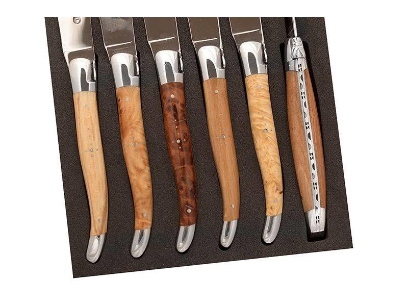 Laguiole en Aubrac met 6 steakmessen in Europese houtsoorten