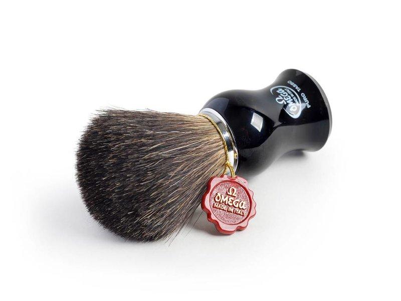Omega all badger scheerkwast - zwart heft - L - met houder