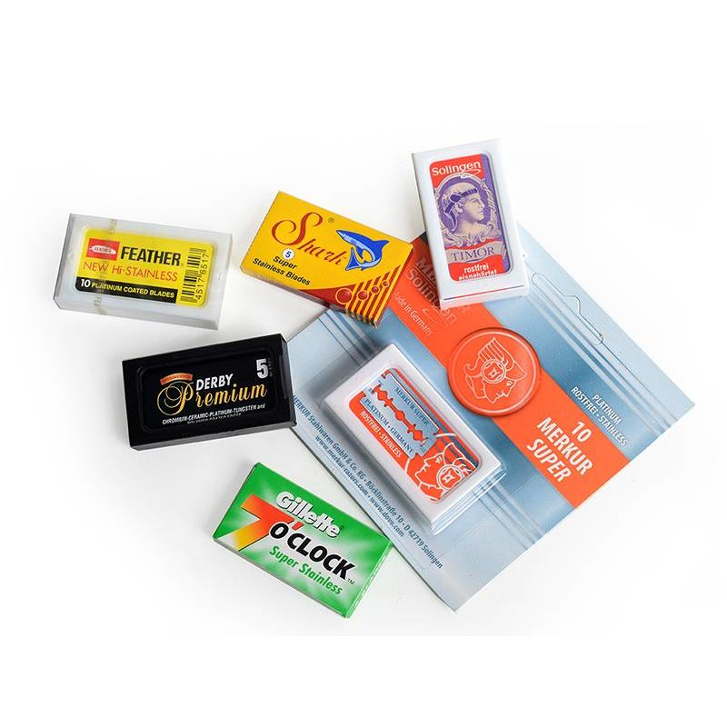 Set van 6 merken safety razor mesjes