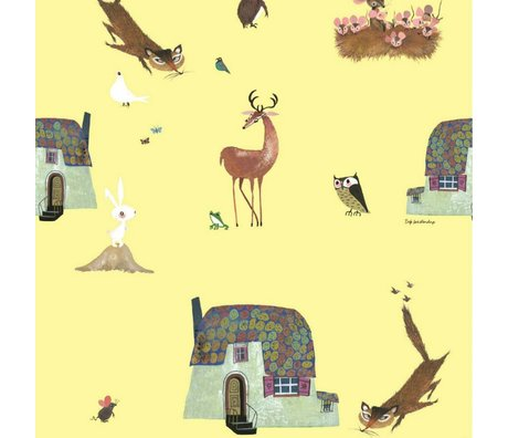 KEK Amsterdam Children's Wallpaper Fiep Westendorp Forest Animals yellow 146,1x280cm