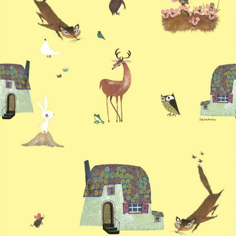 KEK Amsterdam Kinderbehang Fiep Westendorp Forest Animals geel 146,1x280cm