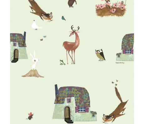 KEK Amsterdam Children's Wallpaper Fiep Westendorp Forest Animals green 146,1x280cm
