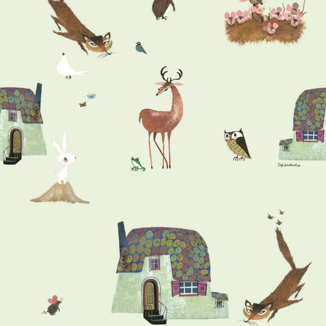 KEK Amsterdam Kinderbehang Fiep Westendorp Forest Animals groen 146,1x280cm