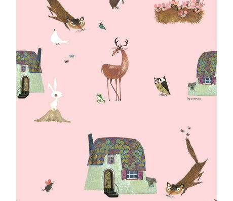 KEK Amsterdam Children's Wallpaper Fiep Westendorp Forest Animals pink 146,1x280cm